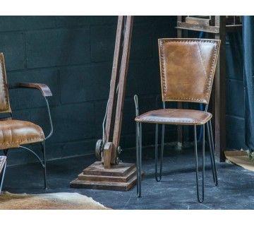 Chaise vintage métal et cuir SMART