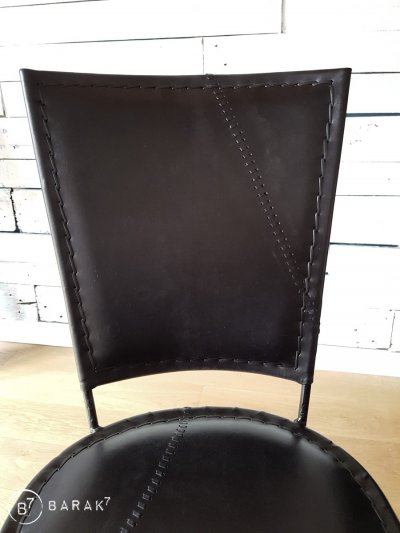 Chaise vintage metal et cuir noir SMART