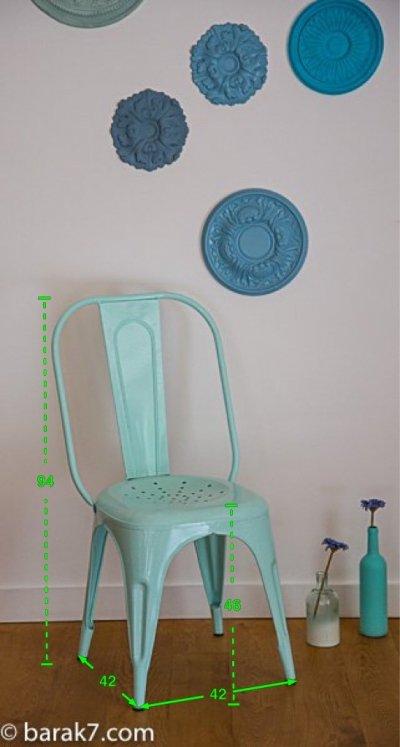 Chaise industrielle métal menthe
