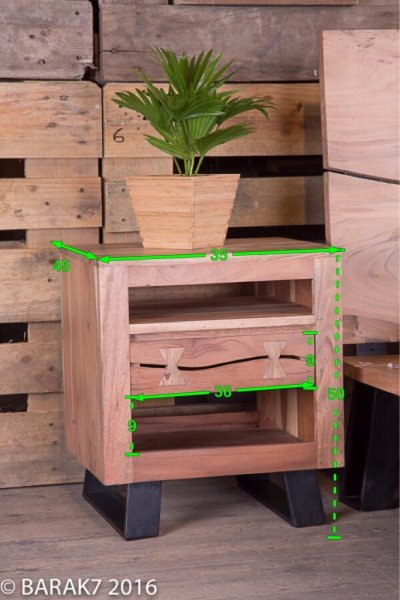 Table de chevet en acacia « Urban Jungle »