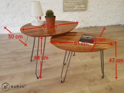 Table basse scandinave gigogne bois métal