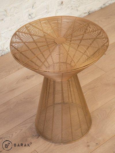 Tabouret tissage métallique design bronze
