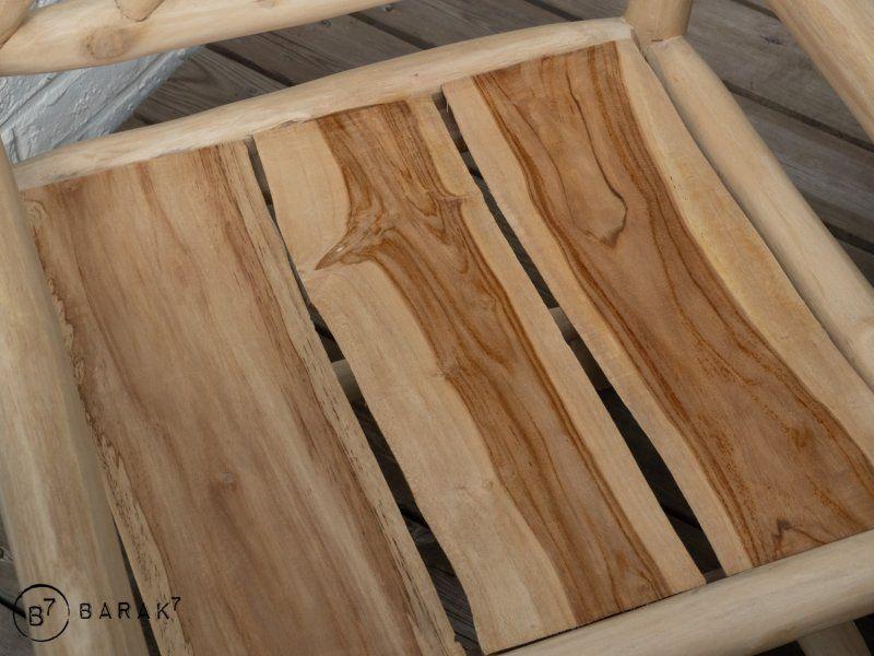 Chaise en branches de teck - bois flotté avec accoudoirs