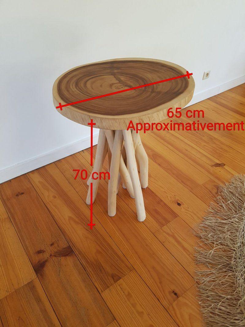 Table d'appoint en branches de teck - bois flotté