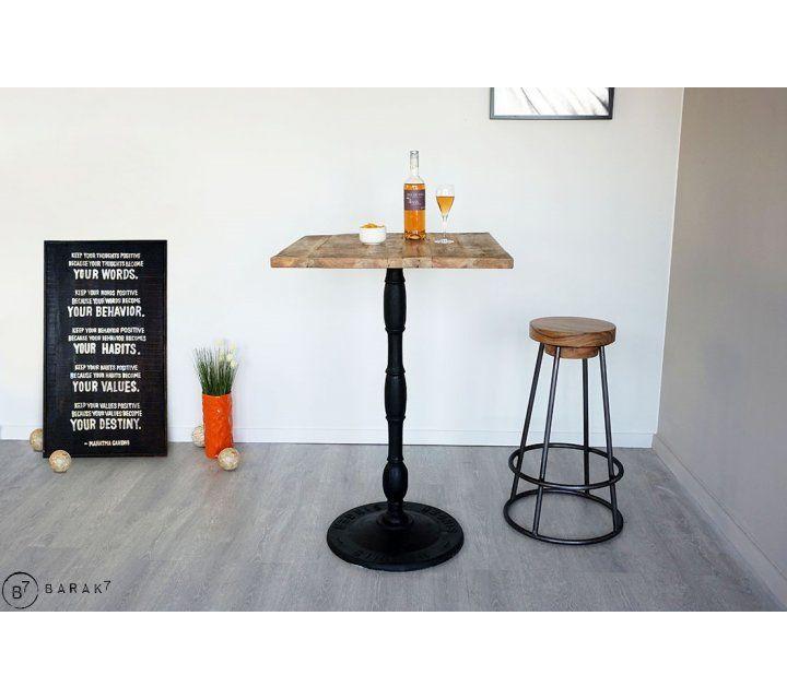 Table haute de bistrot carrée 70 cm