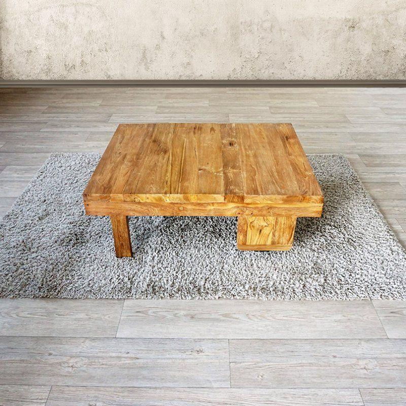 Table basse industrielle chariot teck et métal