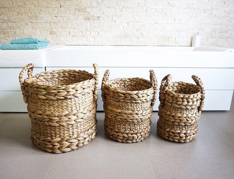 Set de 3 paniers en jacinthe d'eau naturel