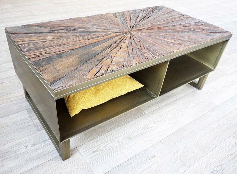 Table basse bois métal exotique KALE