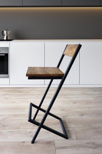 Chaise de bar bois et métal LINEA