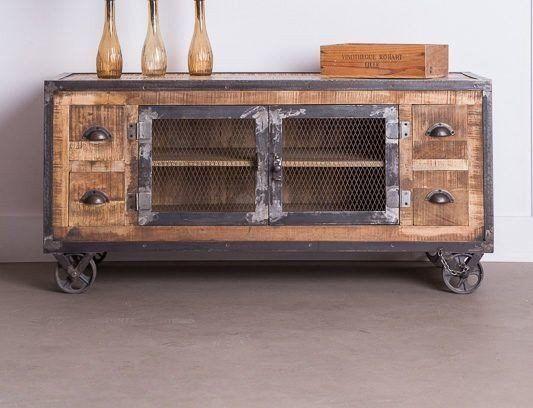 Meuble TV industriel 4 tiroirs finition antique