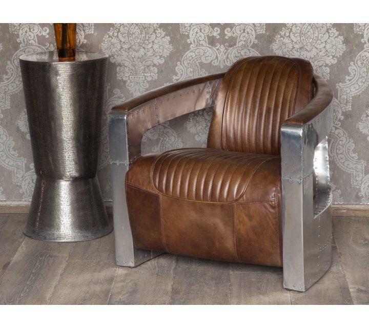 Fauteuil aviateur cuir et aluminium