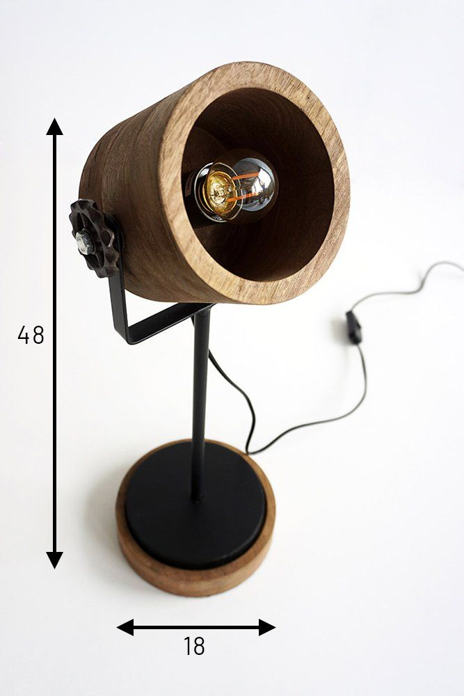 Lampe industrielle sur pied bois et métal - Woody