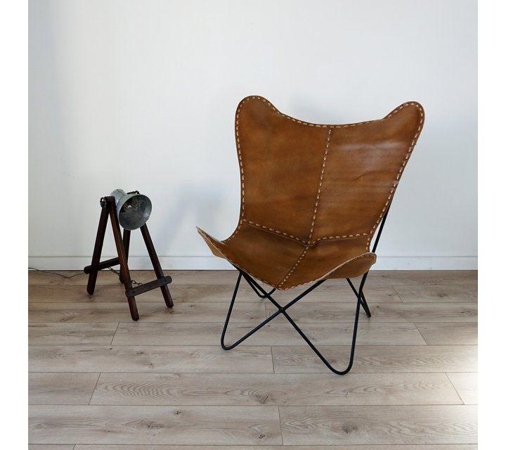 Chaise en cuir papillon l'Etoilée