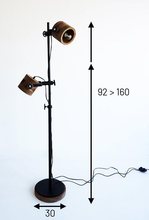 Lampe sur pied industrielle bois et métal - Woody