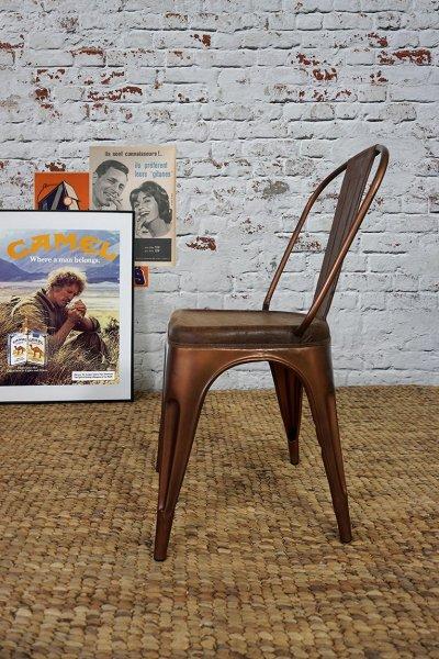 Chaise industrielle cuir et cuivre
