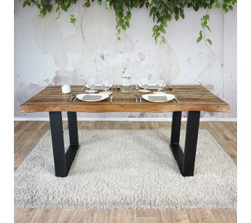 Table à manger bois massif avec pieds métal - Rustik