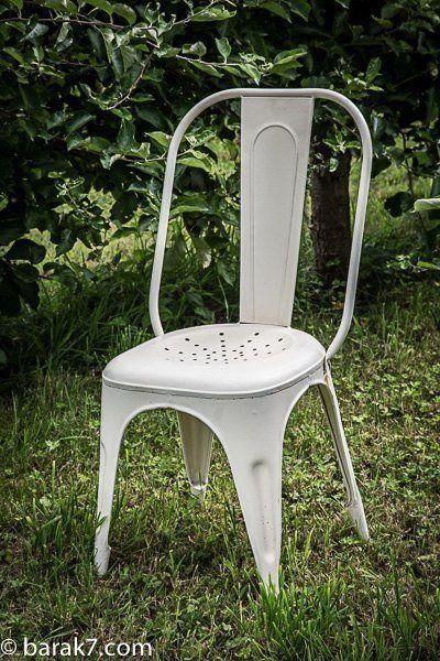 Chaise industrielle métal blanche