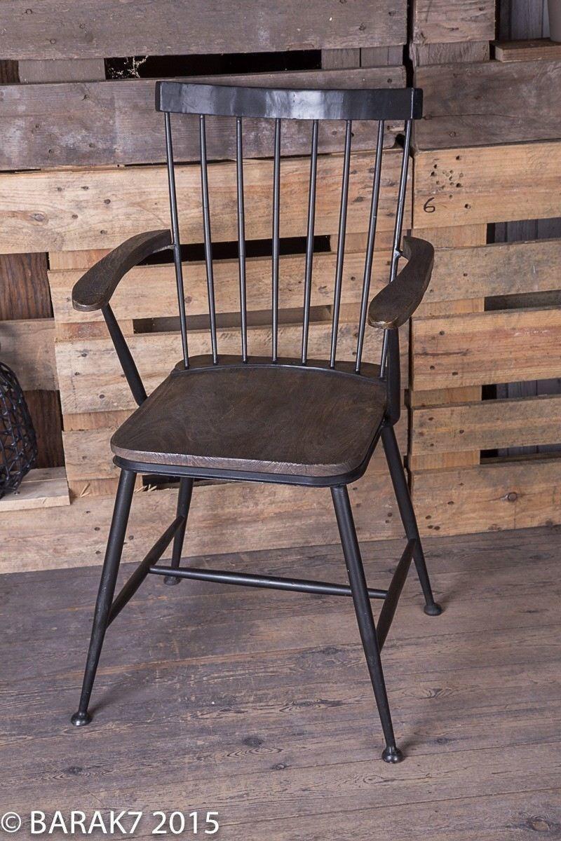 chaise industrielle bois metal avec accoudoirs. Black Bedroom Furniture Sets. Home Design Ideas