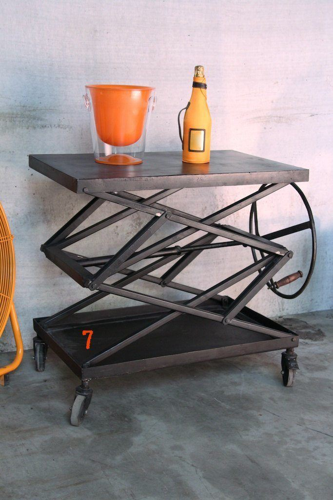 Industrial coffee table with handle