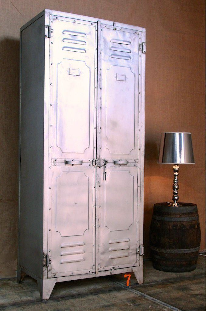 Industrial 2-door silver metal locker