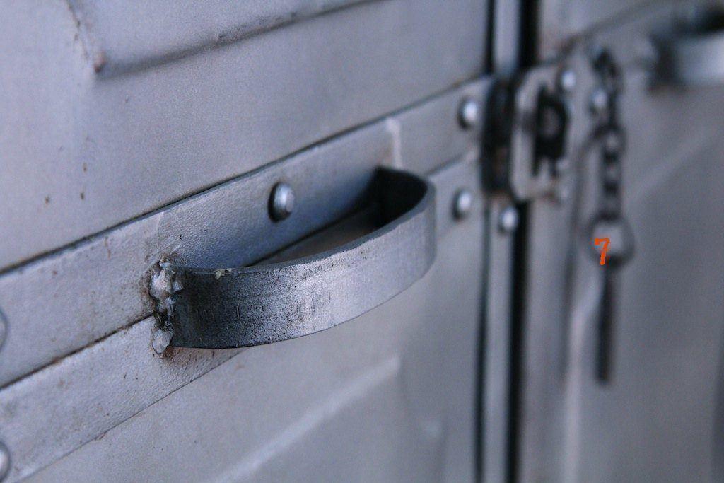 Industrial 2-door silver metal locker