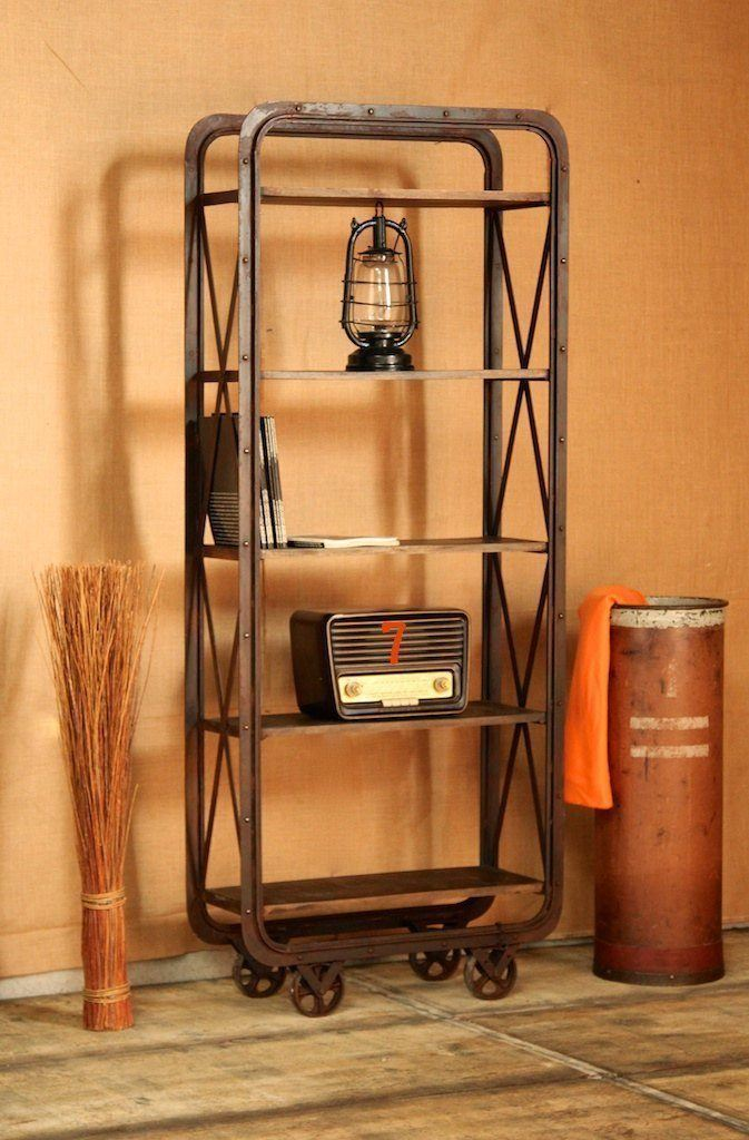 Industrial shelving unit with casters and rust finish