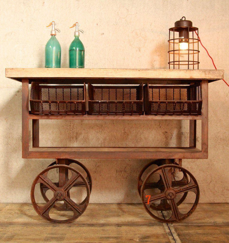 D sserte industrielle rouille meuble industriel id al - Desserte pour cuisine ...