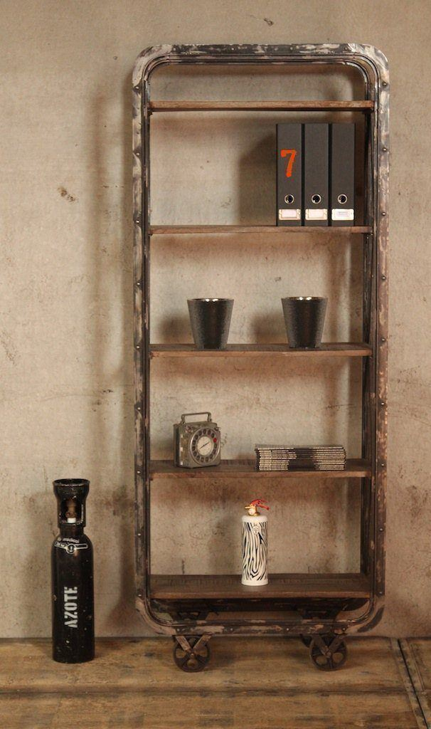 Industrial furniture industrial shelving unit with casters barak 39 7 - Bahut metal industriel ...