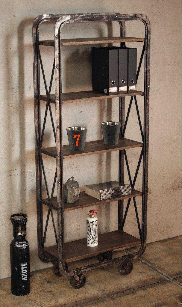 Industrial shelving unit with casters