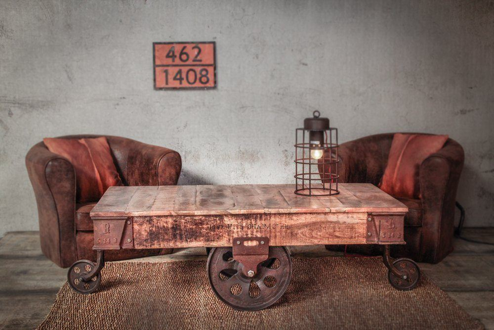 Industrial furniture industrial coffee table rust - Tables basses industrielles ...