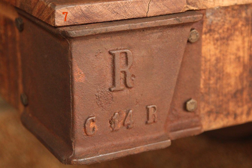 Industrial coffee table rust colored
