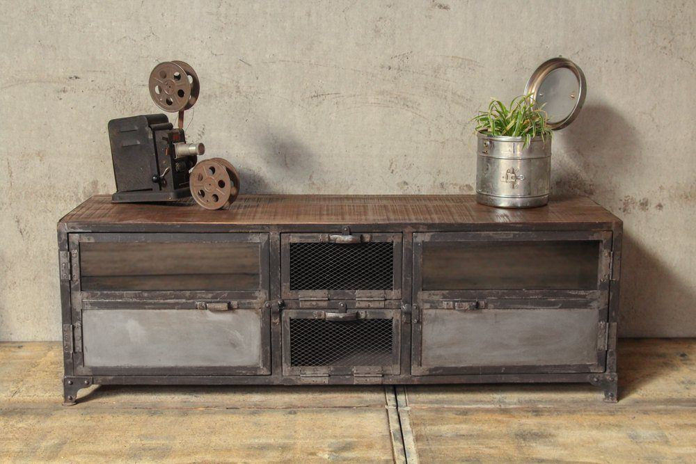 Industrial furniture industrial tv stand in wood and for Meuble mural original