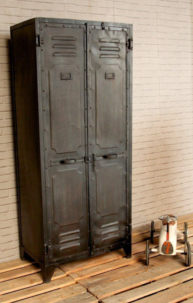 Industrial furniture industrial 2 door black metal locker barak 39 7 - Armoire style industriel ...