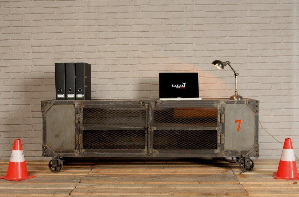 Industrial furniture industrial tv stand with natural for Meuble en fer industriel
