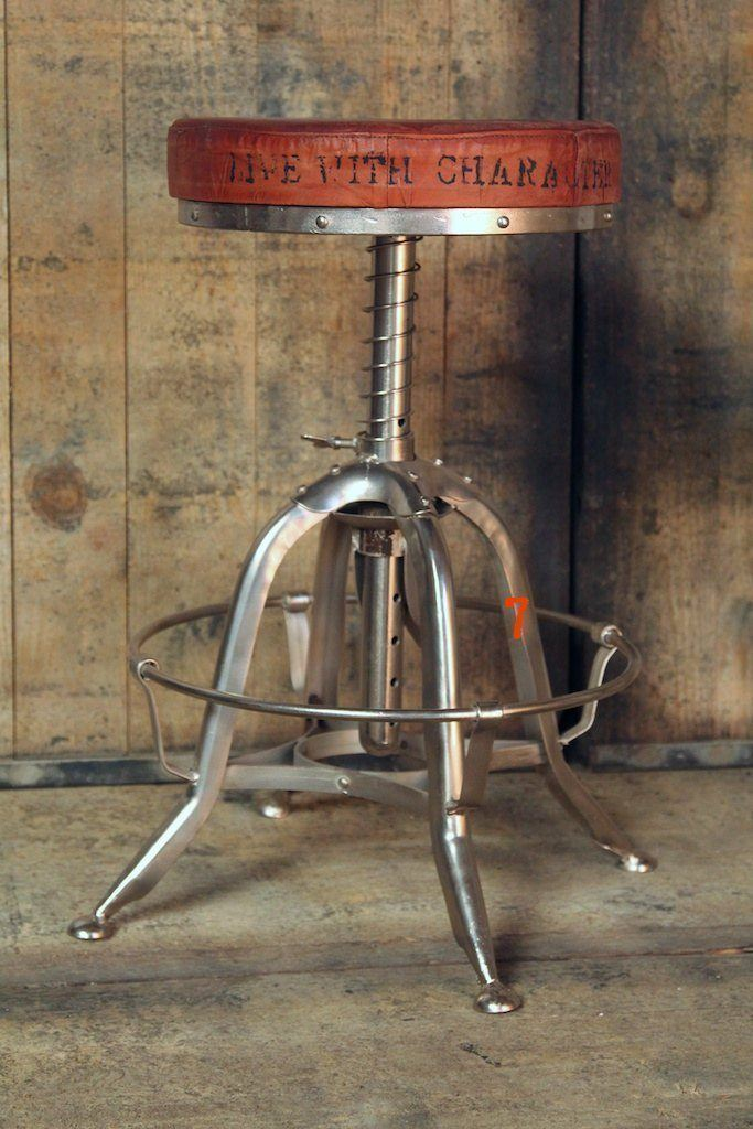 Leather industrial stool