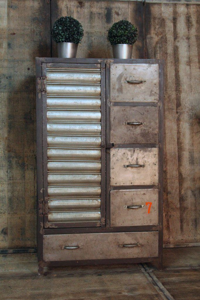 Industrial cabinet with antique finish