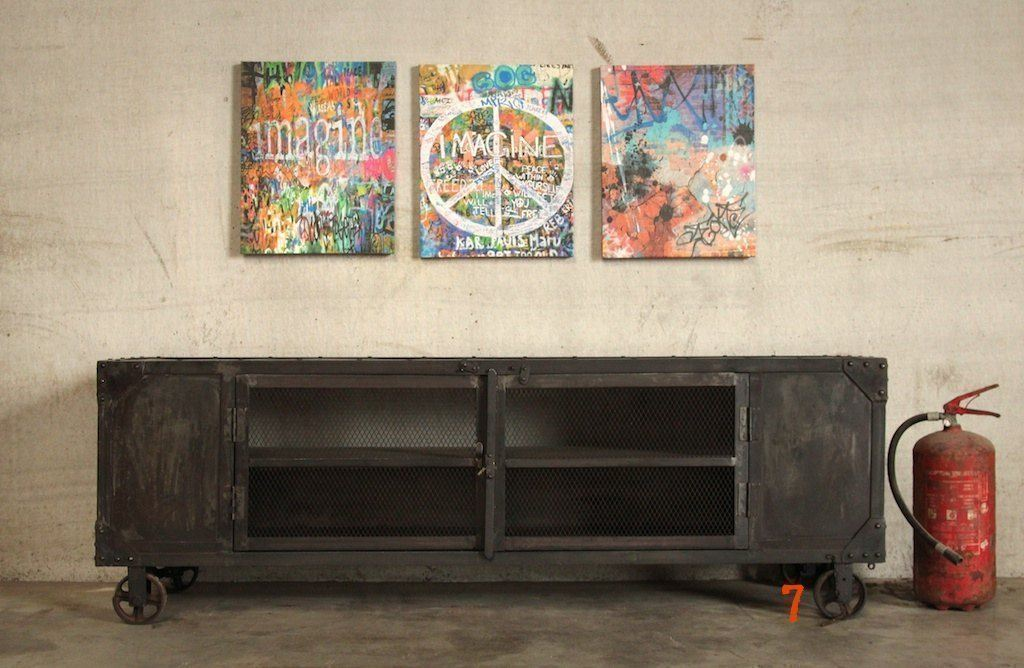 Industrial TV stand with carbon finish