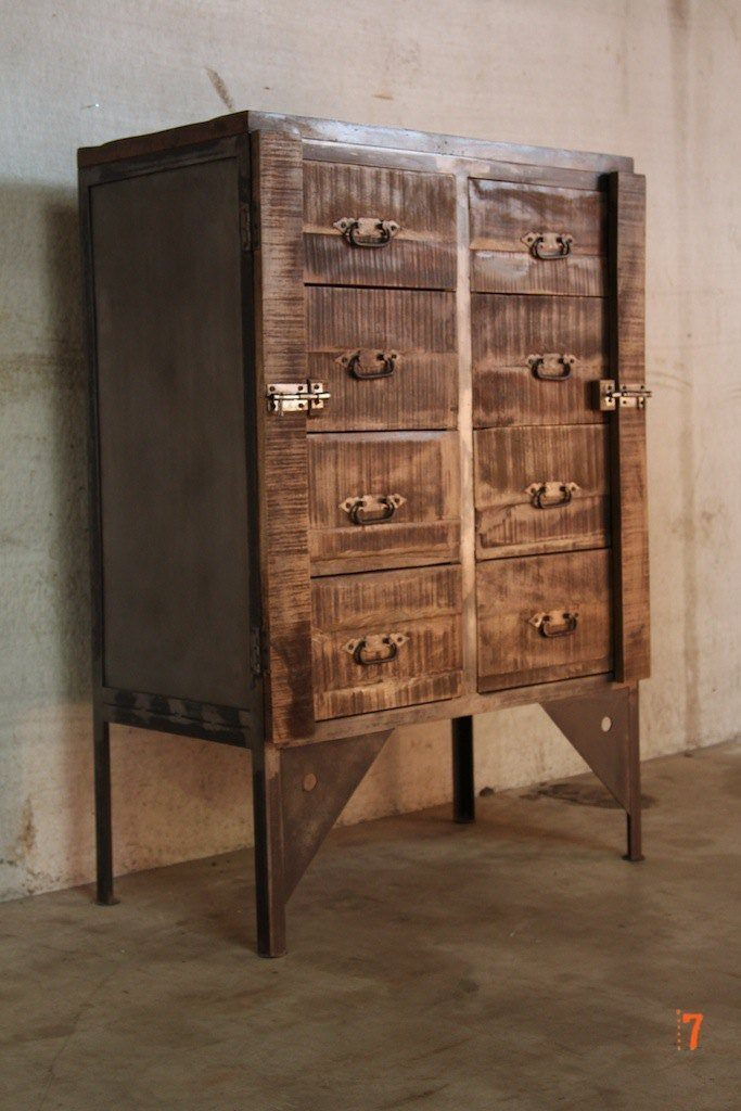 Industrial Furniture  Industrial chest of drawers in wood