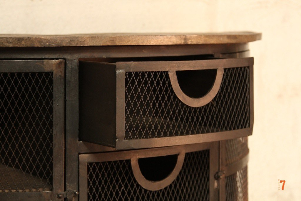 Black metal industrial console table