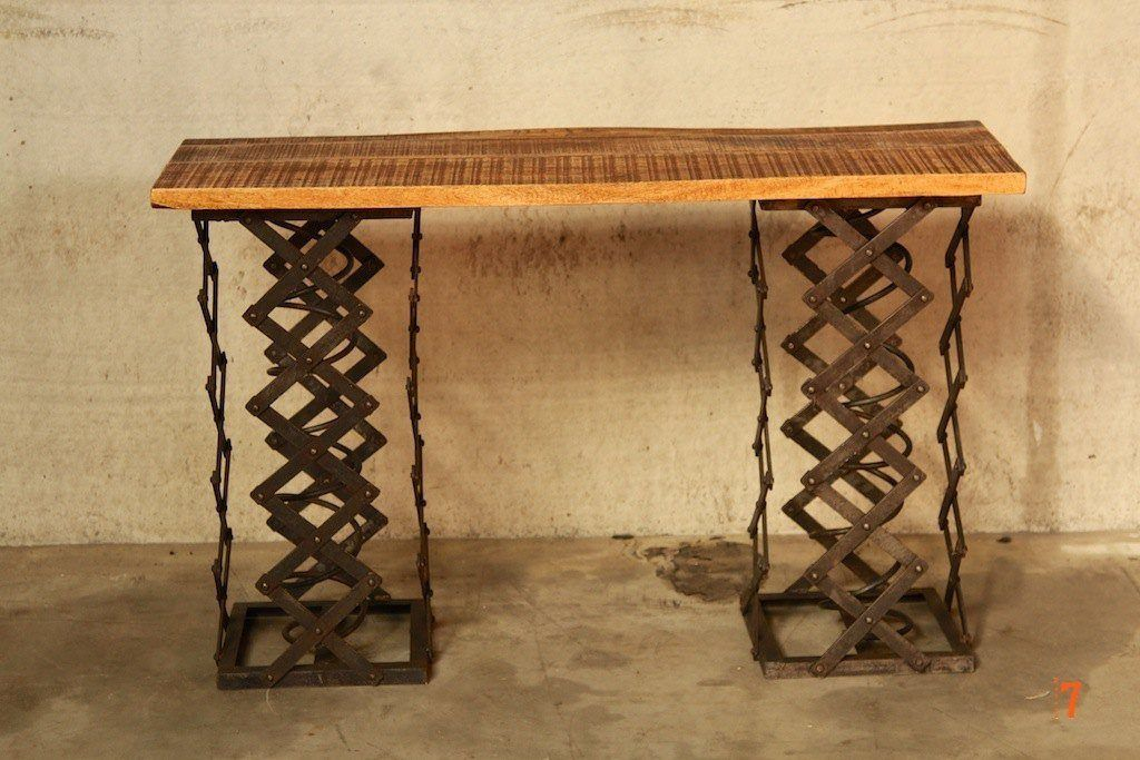 Industrial console table with accordion legs