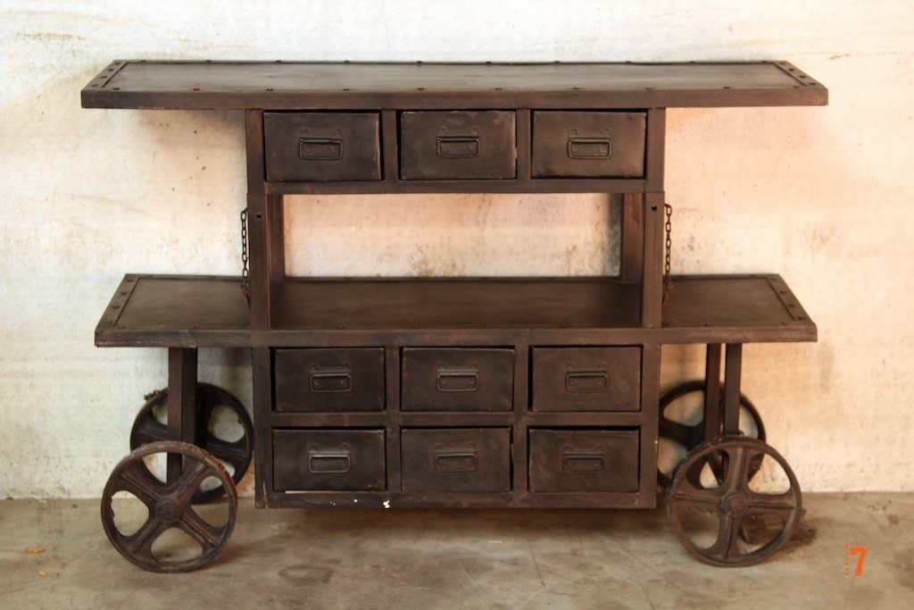 Industrial console table with wagon inspiration