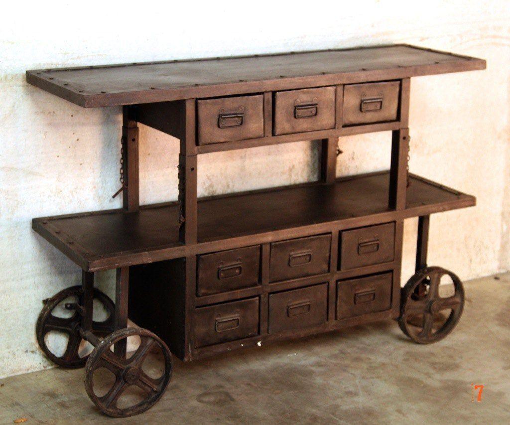 console industrielle wagon meuble industriel. Black Bedroom Furniture Sets. Home Design Ideas