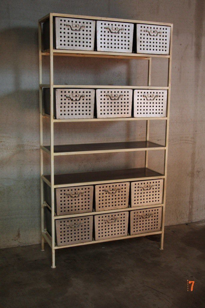 Industrial shelving unit with racks