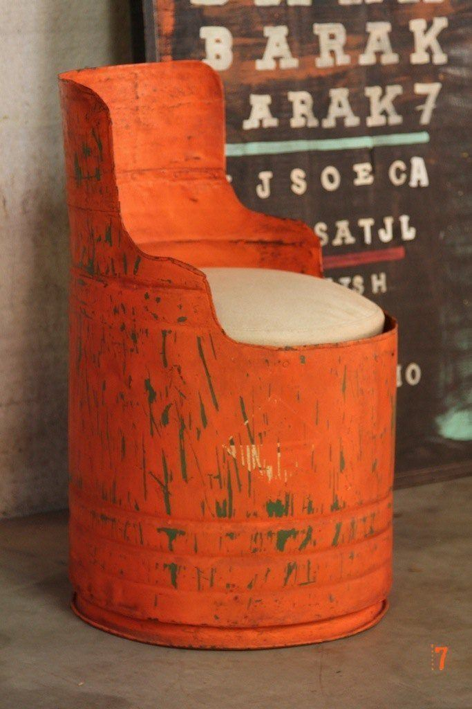 Orange industrial drum chair