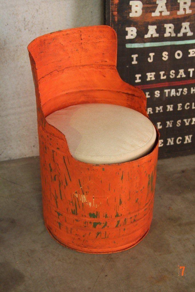 Orange industrial drum chair