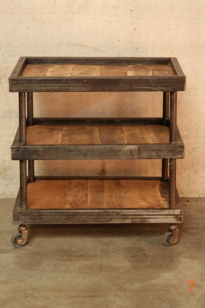 Industrial dessert trolley in wood and metal
