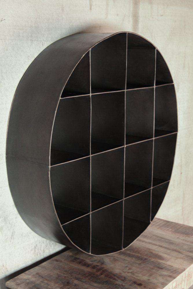 Industrial furniture circular industrial metal bookcase - Decoration murale metal ...