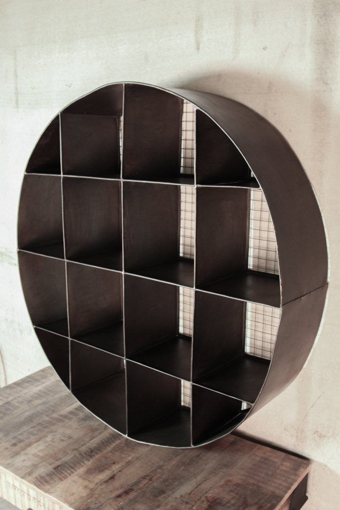 Industrial furniture circular industrial metal bookcase for Decoration murale industrielle