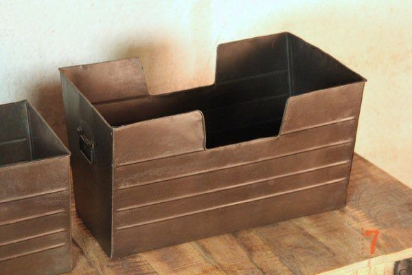 Set of two industrial storage baskets