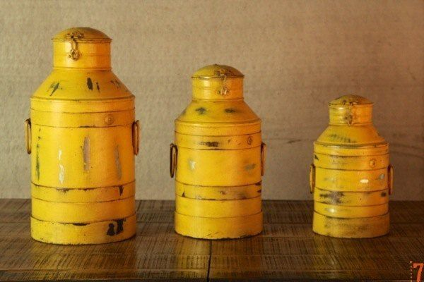 industrial furniture set of 3 yellow antique milk churns barak 7